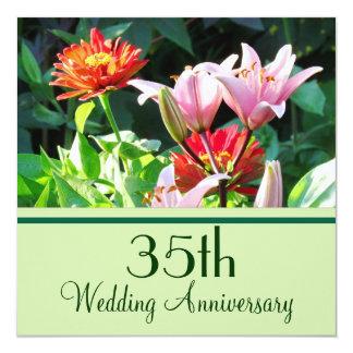 英国の庭の花模様第35記念日の招待状 カード
