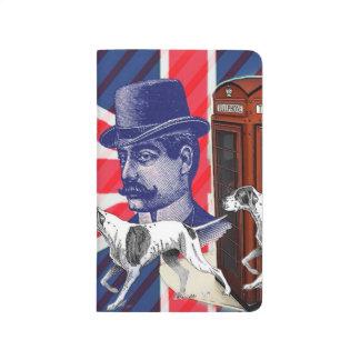 英国の紳士の電話ボックスの英国国旗の旗 ポケットジャーナル