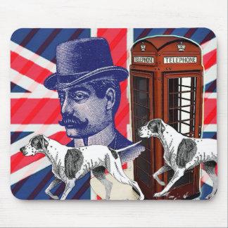 英国の紳士の電話ボックスの英国国旗の旗 マウスパッド