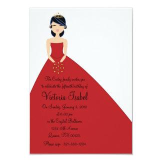 英国の赤いプリンセスのquinceañeraのマルメロの招待 カード