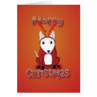 英国の雄牛のテリアトナカイの衣裳メリーなクリスマス カード