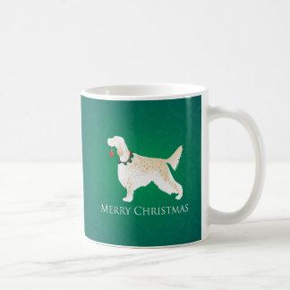 英国セッターのメリークリスマスのデザイン コーヒーマグカップ