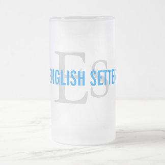 英国セッターの品種モノグラム フロストグラスビールジョッキ