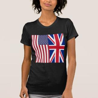 英国国旗および米国の旗 Tシャツ