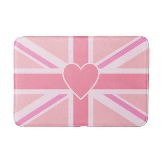 英国国旗か旗のピンク及びハート バスマット