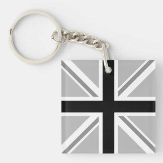 英国国旗か旗の白黒 キーホルダー