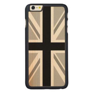 英国国旗か旗の白黒 CarvedメープルiPhone 6 PLUS スリムケース