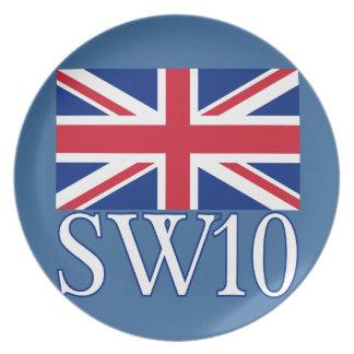 英国国旗が付いているロンドンの郵便番号SW10 プレート