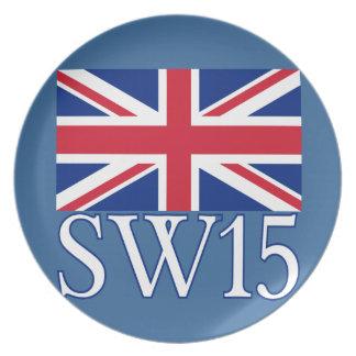 英国国旗が付いているロンドンの郵便番号SW15 プレート