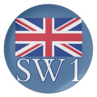 英国国旗が付いているロンドンの郵便番号SW1 プレート