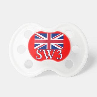 英国国旗が付いているロンドンの郵便番号SW3 おしゃぶり