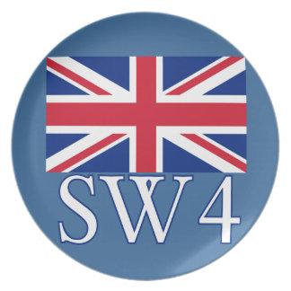英国国旗が付いているロンドンの郵便番号SW4 プレート