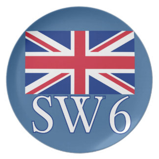 英国国旗が付いているロンドンの郵便番号SW6 プレート