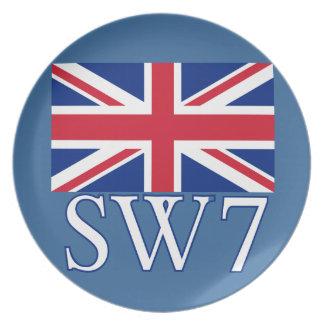 英国国旗が付いているロンドンの郵便番号SW7 プレート
