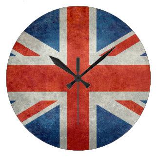 英国国旗のイギリスのイギリスの旗のレトロのスタイルの時計 ラージ壁時計