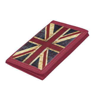 英国国旗のイギリスのグランジな旗 ナイロン三つ折りウォレット