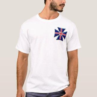 英国国旗のイギリスのバイクもしくは自転車に乗る人のマルタの鉄の十字 Tシャツ