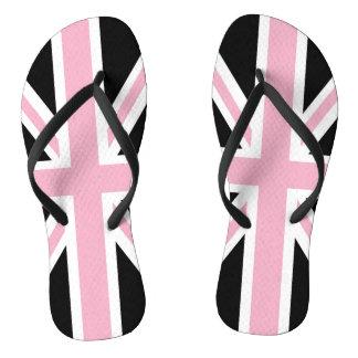 英国国旗のイギリスの愛国心が強い旗のピンクの白黒 ビーチサンダル