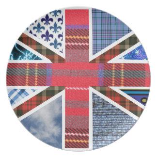 英国国旗のイギリスの愛国者のタータンチェックのプレート プレート