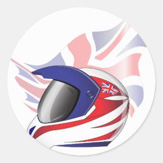 英国国旗のオートバイのヘルメットのステッカー 丸形シール・ステッカー