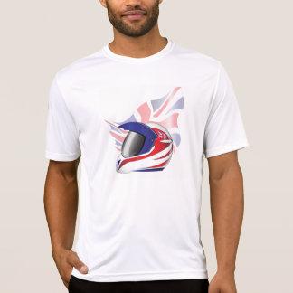 英国国旗のオートバイのヘルメットメンズ能動態のティー Tシャツ