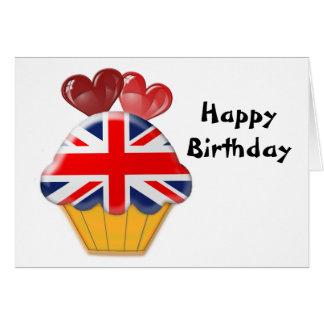 英国国旗のカップケーキおよびハート グリーティングカード