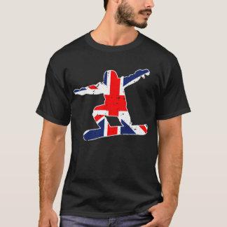 英国国旗のスノーボーダー(白い) Tシャツ