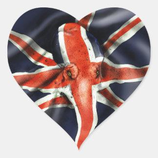 英国国旗のタコ ハートシール