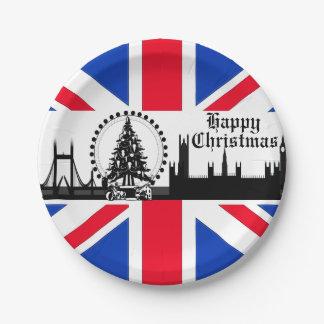 英国国旗のテーマのロンドンのクリスマスの紙皿 ペーパープレート