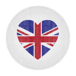英国国旗のハートのガラスまな板 カッティングボード