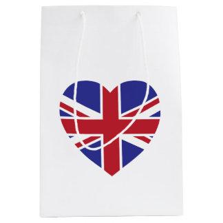 英国国旗のハートのギフトバッグ ミディアムペーパーバッグ