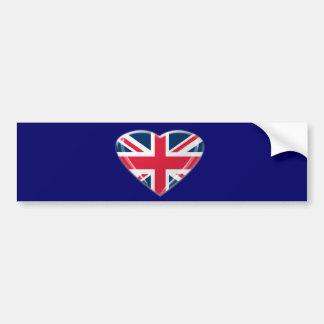 英国国旗のハートのギフト バンパーステッカー