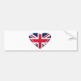 英国国旗のハートのデザイン バンパーステッカー