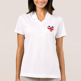 英国国旗のハートの女性ポロ ポロシャツ