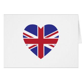 英国国旗のハートの挨拶状-中ブランク カード
