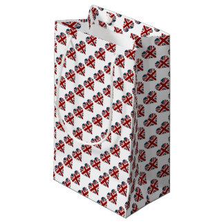 英国国旗のハート形の旗 スモールペーパーバッグ