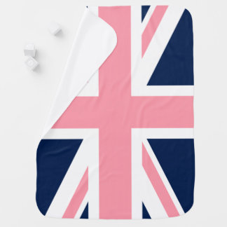 英国国旗のピンクおよび青い旗 ベビー ブランケット