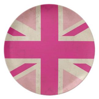 英国国旗のピンクの古いプレート プレート