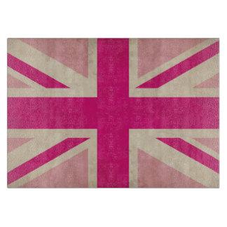 英国国旗の古い旗のガラスまな板 カッティングボード