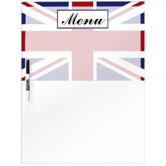 英国国旗の旗のイギリスの結婚式メニュー ホワイトボード