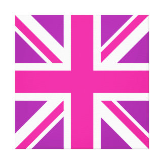 英国国旗の旗のピンク、紫色及び白 キャンバスプリント