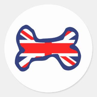 英国国旗の旗の犬用の骨の芸術 ラウンドシール