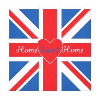 英国国旗の旗、家の甘い家及びハート キャンバスプリント