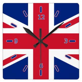 英国国旗の時計(数と) スクエア壁時計