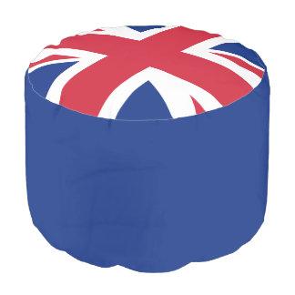 英国国旗の編まれた綿のラウンドパフ プーフ