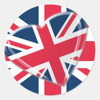 英国国旗の軽快なハートおよび旗の芸術 ラウンドシール