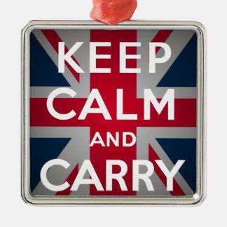 英国国旗のKeep Calm and Carry On メタルオーナメント