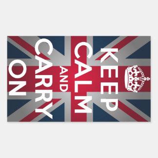 英国国旗のKeep Calm and Carry On 長方形シール