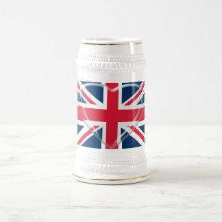 英国国旗旗およびガラスのハートの芸術 ビールジョッキ