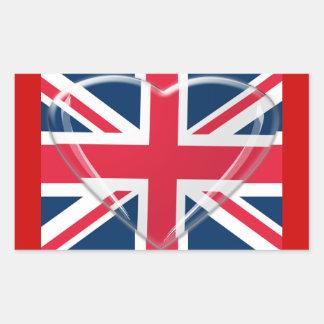 英国国旗旗およびガラスのハートの芸術 長方形シール